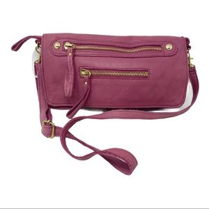 Linea Pelle Collection rose pink leather crossbody